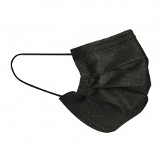 3-Ply Face Coverings Black (Pack of 50) Ref: DF589