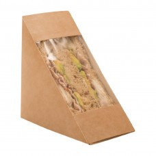 Colpac Recyclable Kraft Front-Loading Sandwich Wedges With PLA Window (Pack of 500) Ref: DF605