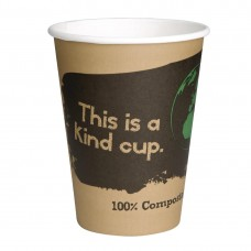 Fiesta Green Compostable Coffee Cups Single Wall 340ml / 12oz (Pack of 50), Ref: DS059