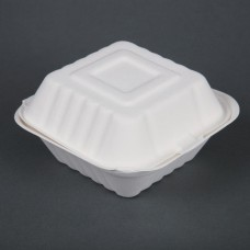 Fiesta Green Compostable Bagasse Burger Boxes 152mm (Pack of 500), Ref: DW246