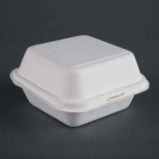 Fiesta Green Compostable Bagasse Burger Boxes 153mm (Pack of 500), Ref: DW247