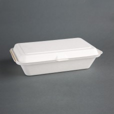 Fiesta Green Compostable Bagasse Hinged Food Containers 248mm, Ref: DW249