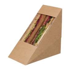 Colpac Zest Compostable Kraft Sandwich Wedges With Acetate Window (Pack of 500), Ref: FA390