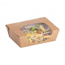 Colpac Zest Compostable Kraft Tuck-Top Salad Packs With Acetate Window 825ml / 29oz, Ref: FA392