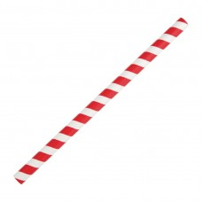 Fiesta Green Compostable Paper Smoothie Straws Red Stripes (Pack of 250), Ref: FB147