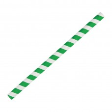 Fiesta Green Compostable Paper Smoothie Straws Green Stripes (Pack of 250), Ref: FB148