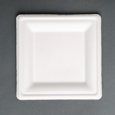 Fiesta Green Compostable Bagasse Square Plates 159mm (Pack of 50), Ref: FC518