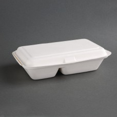 Fiesta Green Compostable Bagasse Two-Compartment Hinged Food Containers 253mm (Pack of 200), Ref: FC524