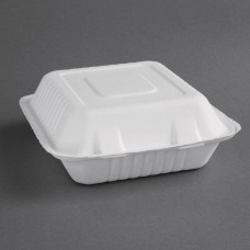 Fiesta Green Compostable Bagasse Hinged Food Containers 204mm (Pack of 200), Ref: FC525