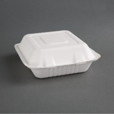 Fiesta Green Compostable Bagasse Three-Compartment Hinged Food Containers 237mm (Pack of 200), Ref: FC526