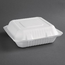 Fiesta Green Compostable Bagasse Hinged Food Containers 237mm (Pack of 200), Ref: FC527