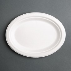 Fiesta Green Compostable Bagasse Oval Plates 198mm (Pack of 50), Ref: FC534