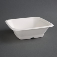 Fiesta Green Compostable Bagasse Square Bowls 24oz (Pack of 50), Ref: FC536