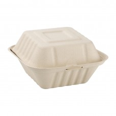 Fiesta Green Compostable Bagasse Burger Boxes Natural Colour 152mm (Pack of 500), Ref: FC542