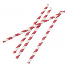 Fiesta Green Individually Wrapped Compostable Paper Straws Red Stripes (Pack of 250) FP442
