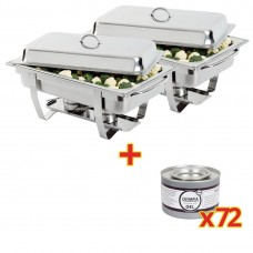 Special Offer 2x Milan Chafer and 72 Olympia Gel Fuel Tins, Ref: S601
