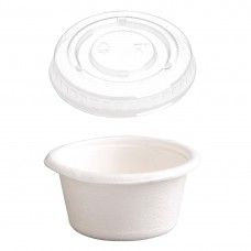 Fiesta Compostable Bagasse Condiment Pots 59ml / 2oz With PET Lids (Pack of 1000) SA628